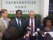 From left, Jax Chamber President Daniel Davis, Jacksonville Mayor Alvin Brown, Jaxport Executive Diretor Brian Taylor and U.S. Congresswoman Corrine Brown at the Wednesday news conference at the Jacksonville Port Authority headquarters.