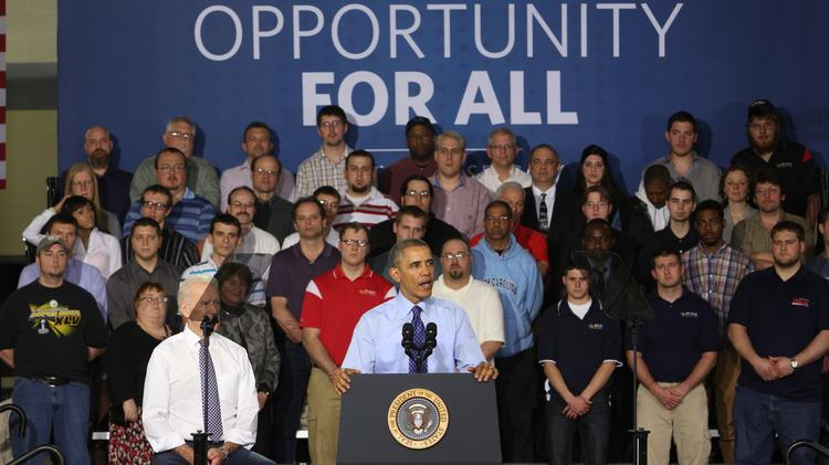 President Barack Obama speaks April 16 at the Community College of Allegheny County West Hills Campus in Oakdale.