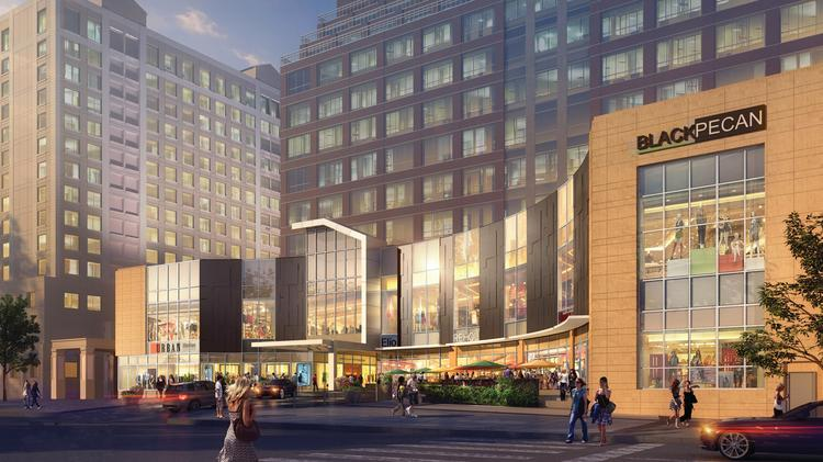 Fashion Centre at Pentagon City will get a new look inside and out, with 50,000 square feet being added over two new floors. This rendering shows what the Hayes Street facade will look like.