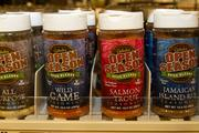 The store offers a variety of spices to season game and fish.