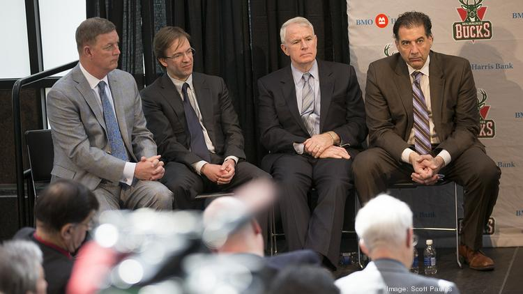 Marc Marotta (right) at Wednesday's press conference with, from left, Tim Sheehy, Milwaukee County Executive Chris Abele and Milwaukee Mayor Tom Barrett.