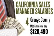 No. 4. Orange County, with a median annual salary of $120,490 for sales managers. For all professions, the metropolitan area ranks No. 6, with median annual pay of $38,490.