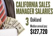 No. 3. Oakland, with a median annual salary of $127,720 for sales managers. For all professions, the metropolitan area ranks No. 3, with median annual pay of $46,510.
