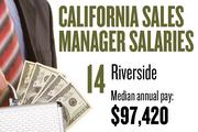 No. 14. Riverside, with a median annual salary of $97,420 for sales managers. For all professions, the metropolitan area ranks No. 18, with median annual pay of $33,500.