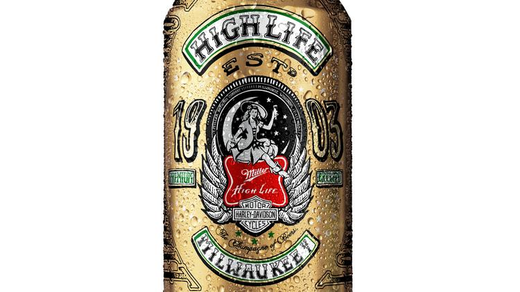 Miller High Life Harley-Davidson 2014 artist series 12-ounce can designed by Roland Sands.