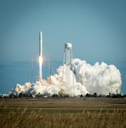 The Antares rocket launches from the Wallops Flight Facility on Sunday.