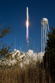 The test launch marked the first flight of Antares, and the first rocket launch from Pad-0A.
