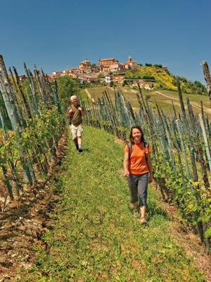 Tourists wander through the wine-rich Piedmont region of Italy on a CW Adventures walking tour.