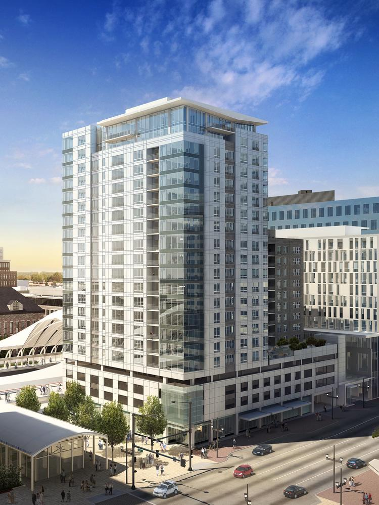 A rendering of Holland Partner Group's Platform at Union Station apartment complex.