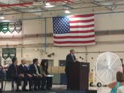 John Thrasher speaks at the dedication of an expansion to Northrop Grumman's St. Augustine facilities.