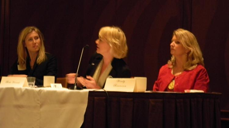 Tracy Johnson, left, of Tempo Milwaukee moderated the panel that included Beth Weirick of Milwaukee Downtown and Wendy Baumann of Wisconsin Women's Business Initiative Corp.