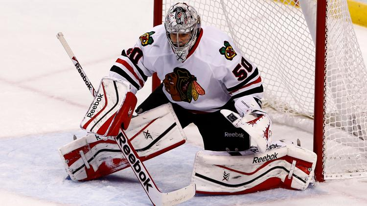 Chicago Blackhawks goalie Corey Crawford's performance could be key as the Hawks try to win their Round 1 series in the 2014 Stanley Cup playoffs.