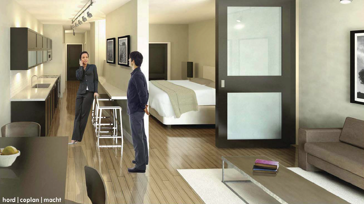 A rendering depicts what apartments will look like at the renovated Equitable building in downtown Baltimore.