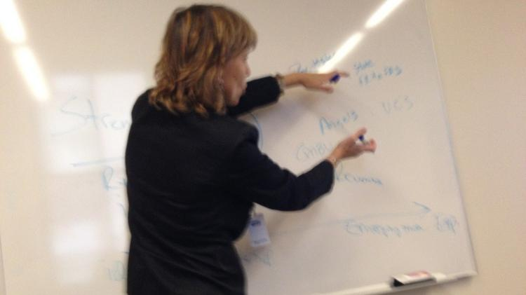 Wisconsin Economic Development Corp. vice president of entrepreneurship and innovation Lisa Johnson uses a whiteboard to illustrate the authority's role in entrepreneurial development.