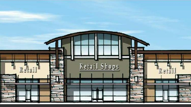 A proposed shopping center on Blue Oaks Boulevard in Roseville just got a zoning change approved to community commercial. The 10-acre site has a Walgreens signed on. This is a rendering of what the center would look like.