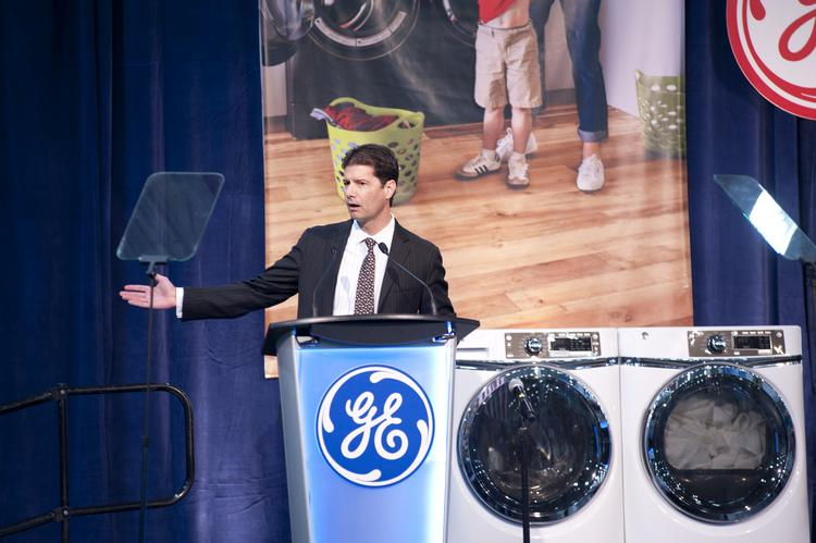 GE Appliances CEO Chip Blankenship spoke during the launch of a new washer and dryer line in Louisville.