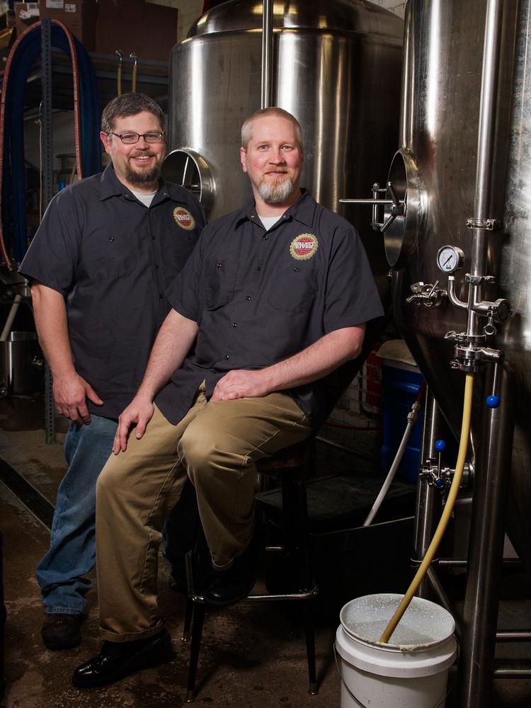 BJ Hunt, head of business operations, and Rich Goehring, head brewer, of Walnut River Brewing Company