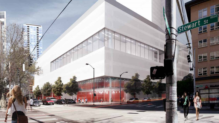 R.C. Hedreen & Co. is out with early renderings of a smaller hotel it would build on three-quarters of block in downtown Seattle.This is a view of that project from Eighth Avenue and Stewart Street.