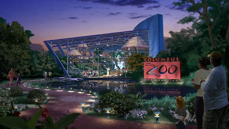 The Columbus zoo's proposed Downtown Adventure complex along the Scioto River.