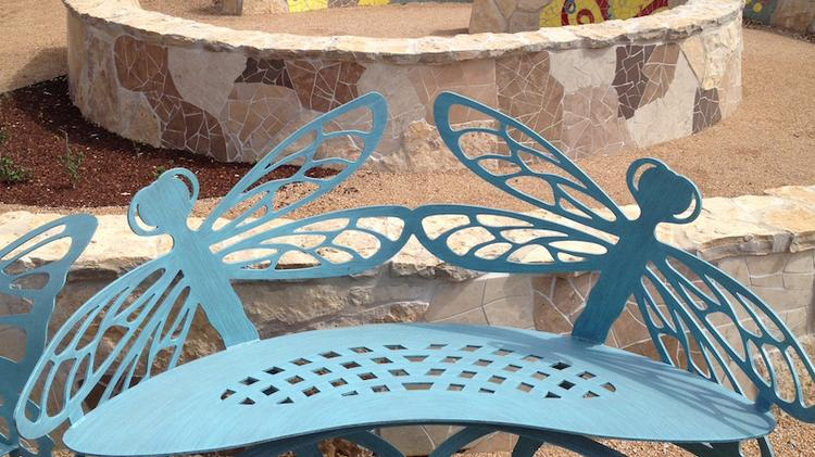 The Luci and Ian Family Garden at the Lady Bird Johnson Wildflower Center at the University of Texas features some whimsical touches such as these butterfly chairs. Click on the image to launch a slideshow of photos from the garden.