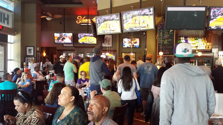 This viewing party at Hickory Tavern at the Metropolitan development in midtown Charlotte was one of several the Bobcats hosted for Sunday's  game versus the Miami Heat.