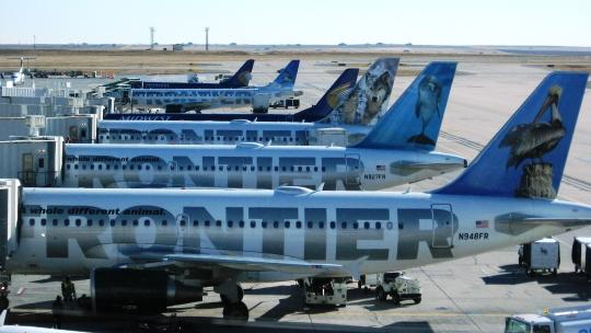 Frontier Airlines jets at Denver International Airpot