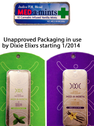 MED-a-Mints before 2014 and after a redesign by manufacturer/distributor Dixie Elixirs & Edibles.