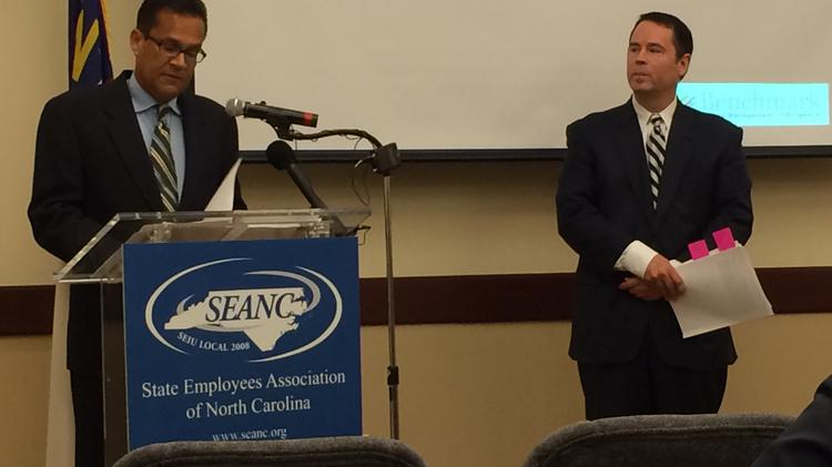 Forensic investigator Edward Siedle (left) and SEANC Executive Director Dana Cope on Tuesday presented the findings of an investigation into North Carolina's state pension fund.