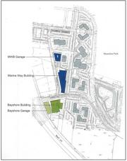 This map shows the locations of Intuit's planned new buildings. The first to rise would be at Marine Way.
