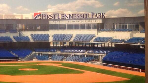 A rendering of the Sounds' new ballpark, with First Tennessee Bank signage.