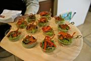 Taster-sized edamame burgers (served without the bun) at eBay Inc. on Earth Day.