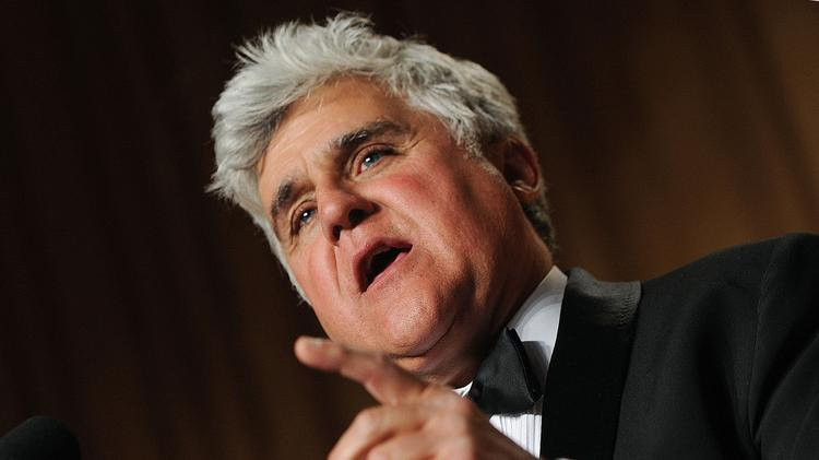 Comedian Jay Leno speaks during the White House Correspondents' Association (WHCA) dinner in Washington, D.C., U.S. on Saturday, May 1, 2009. The dinner raises money for WHCA scholarships and honors the recipients of the organization's journalism awards. Photographer: Olivier Douliery/Pool via Bloomberg