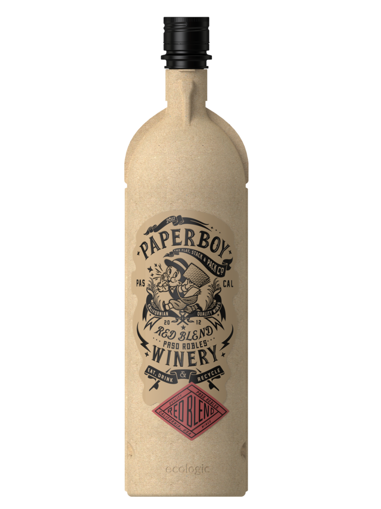 The recyclable wine bottles are made from compressed recycled cardboard formed into the shape of a standard Bordeaux wine bottle and are 85 percent lighter than traditional glass bottles.