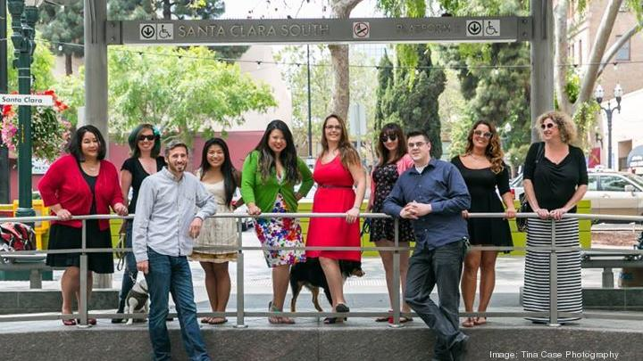 The Dishcrawl team in downtown San Jose. Founder and CEO Tracy Lee is centered, in the green sweater.