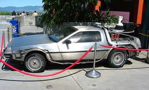 The retrofitted DeLorean DMC-12, like the one used as a time machine prop in the 1985 film, Back to the Future.