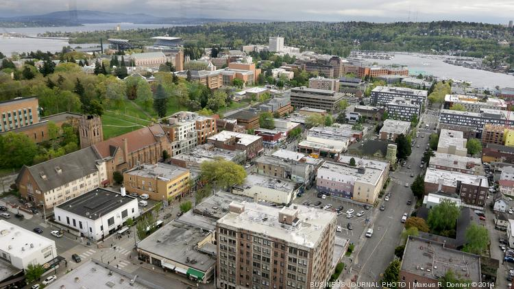 The University of Washington Seattle, shown at left of photo of the University District, was No. 47 on a list of the best colleges for your money.