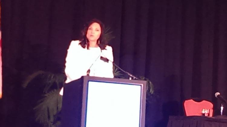 Renee Finley of Florida Blue speaks at the Sapphire Awards and Symposium on Wednesday.