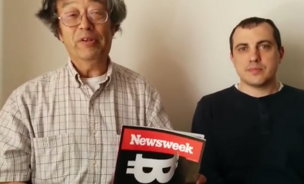 Dorian Nakamoto (left) holds a copy of the Newsweek magazine that claimed he was the inventor of bitcoin. Andreas Antonopoulos (right) is a security official at Bitcoin wallet service Blockchain.info, which hosted a fundraising campaign to help Nakamoto.
