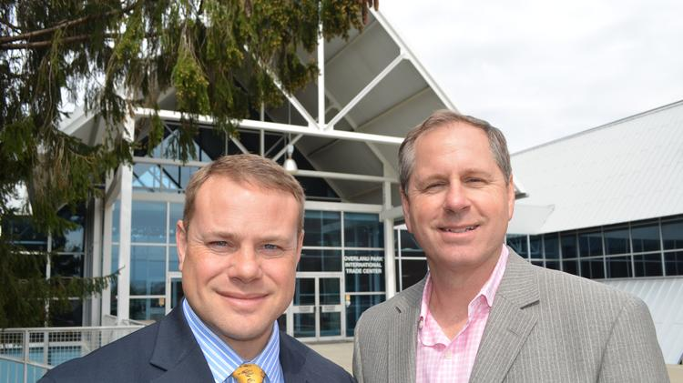 President Chad Stafford (left) and CEO Gary Oborny of Occidental Management stand outside their first Kansas City-area acquisition, the Overland Park International Trade Center.