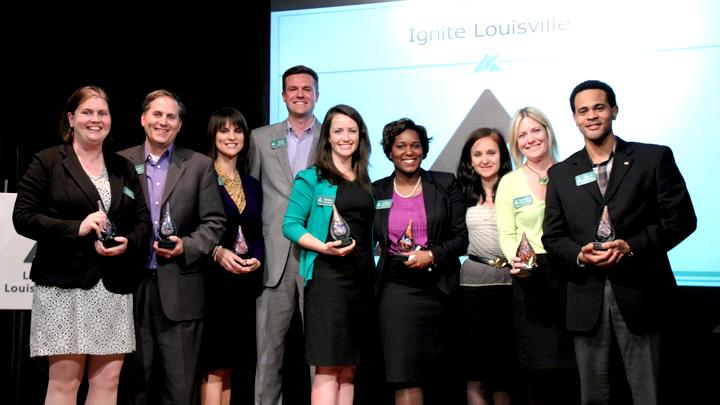 This team from the first 2014 ignite Louisville class captured the Yum! Ignites Louisville Challenge: Erin Zuber, Archdiocese of Louisville; David McArthur, KentuckyOne Health; Kate Cross, Yum! Brands, Inc.; Rob Kester, Deming, Malone, Livesay & Ostroff CPAs; Emma Brown, Strothman and Co.; Ashley Duncan, Transit Authority of River City; Karyn Moskowitz, New Roots; Gen Howard, Louisville Convention and Visitors Bureau; and Errol Wint, University of Louisville.