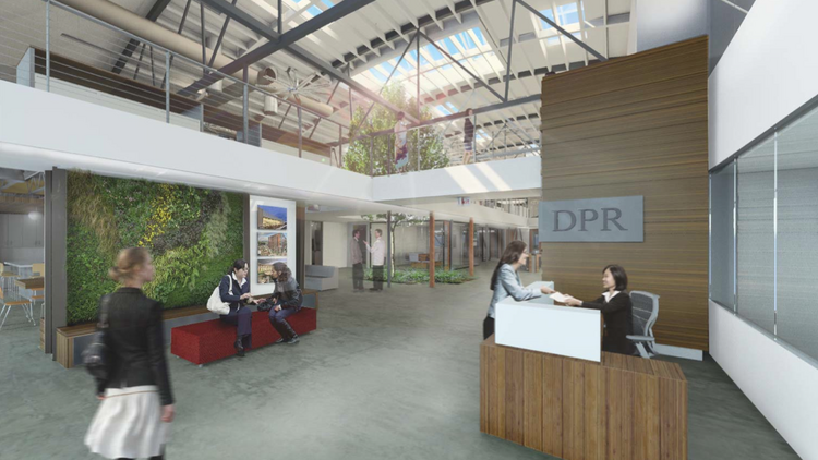 DPR Construction's new office will feature two living walls by Habitat Horticulture in addition to a living wine bar (rendering by FME Architecture + Design).