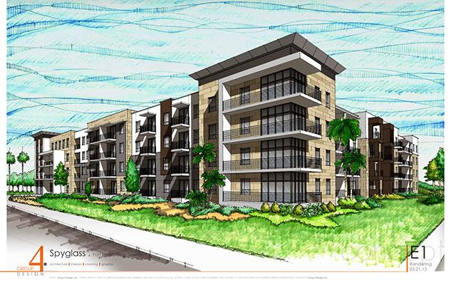 A rendering of Spyglass Rental Community, a 220-unit apartment complex on Jacksonville's Southside.