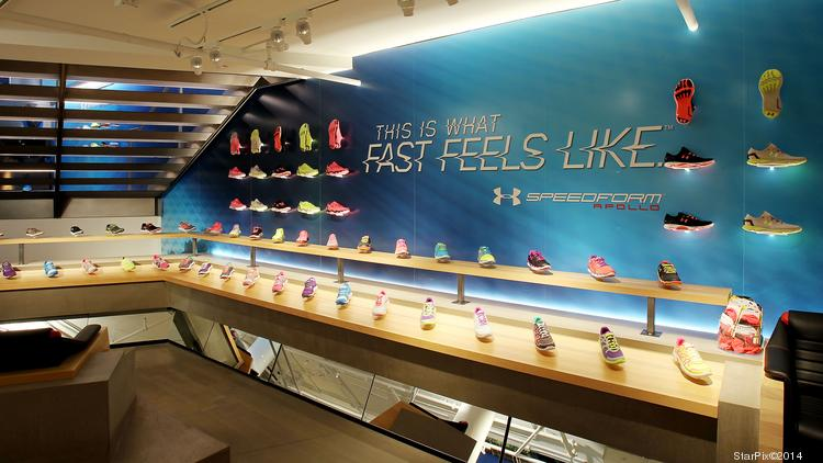 f294008289f588 Shoes on display at Under Armour s New York store. The brand s low-price  running