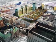 Ryan proposed a hotel and apartment tower between Wells Fargo's twin office towers and the new Vikings stadium.