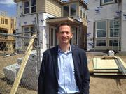 """Matt Osborn, Tri Pointe's Colorado division president, on the 21.5-foot wide homes in Platt Park North, """"They live a lot wider than they really are."""""""