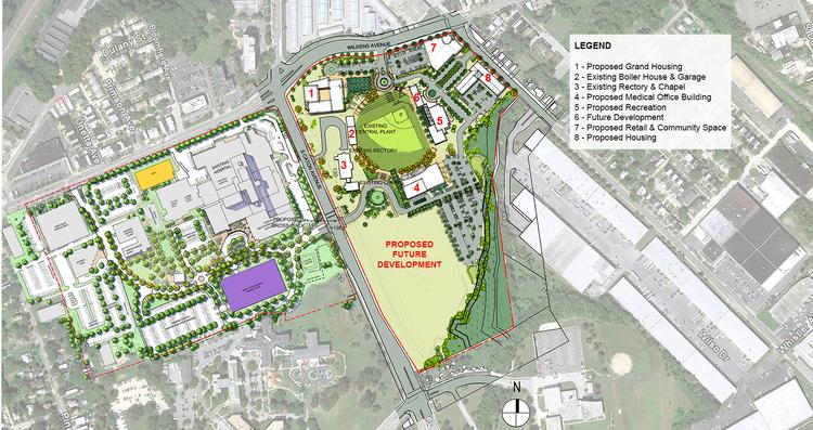 An aerial view of what Saint Agnes has planned for the Cardinal Gibbons site.