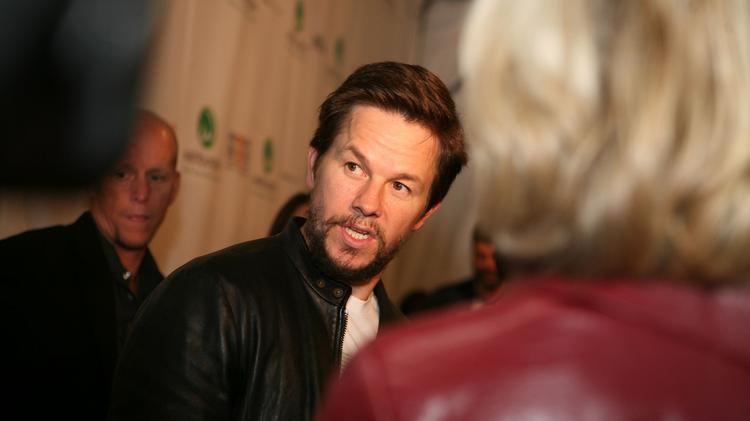 Mark Wahlberg at an opening for a Wahlburgers location.