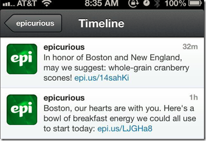 There is no doubt that these were previously scheduled tweets for Epicurious (a Conde Nast-owned food website). They would have been just fine had the morning gone as planned. However, scones were not what anyone wanted to hear about the morning of the Boston Marathon attack and Twitter followers retaliated causing some problems for both the public relations and social media departments.