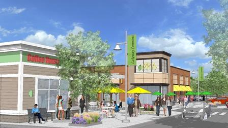 """An artist's rendering of """"Lakeway Commons"""" that would replace Spags in Shrewsbury."""