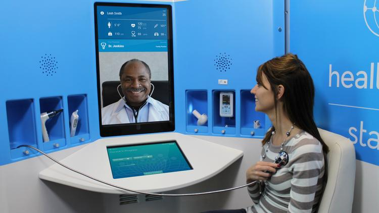 HealthSpot's kiosks allow patients to communicate with doctors over audiovisual links.